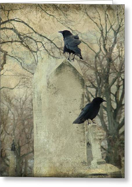 Ravens In Graveyard Greeting Cards - The Caretakers Greeting Card by Gothicolors Donna Snyder