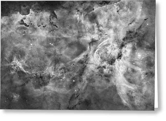 Nebula Photograph Greeting Cards - The Carina Nebula - Black and White Greeting Card by Eric Glaser