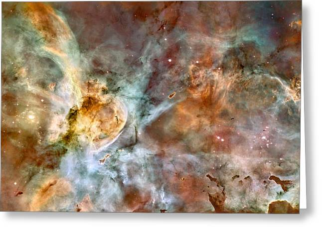 Hubble Telescope Images Greeting Cards - The Carina Nebula Greeting Card by Eric Glaser