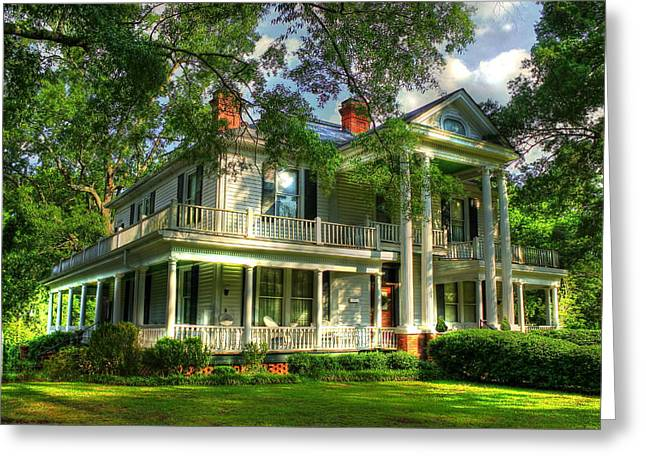 Rich Countries Greeting Cards - The Carlton Home a true Southern Antebellum Type Home Greeting Card by Reid Callaway