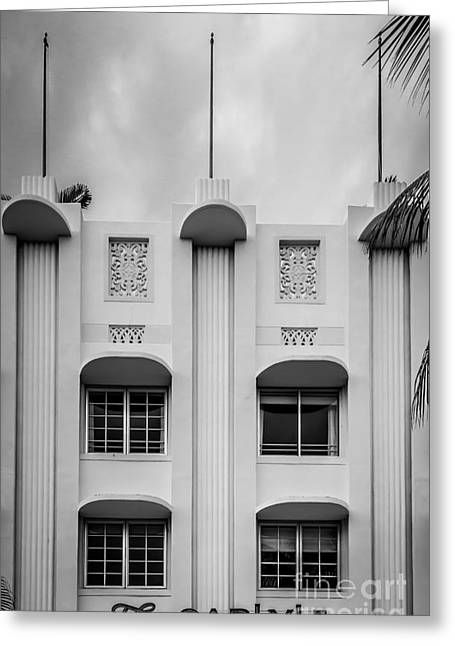 1939 Greeting Cards - The Carlyle Art Deco Detail South Beach Miami - Black and White Greeting Card by Ian Monk
