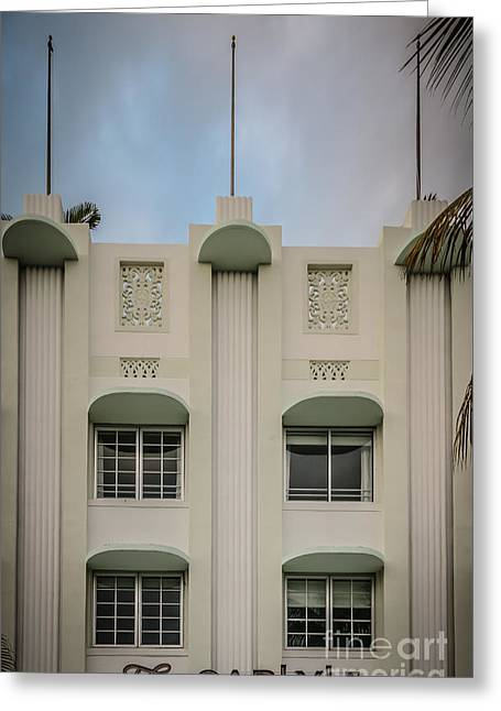 1930s Greeting Cards - The Carlyle Art Deco Detail South Beach Miami - HDR Style Greeting Card by Ian Monk