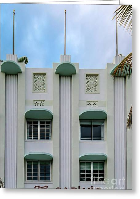 1930s Greeting Cards - The Carlyle Art Deco Detail South Beach Miami Greeting Card by Ian Monk