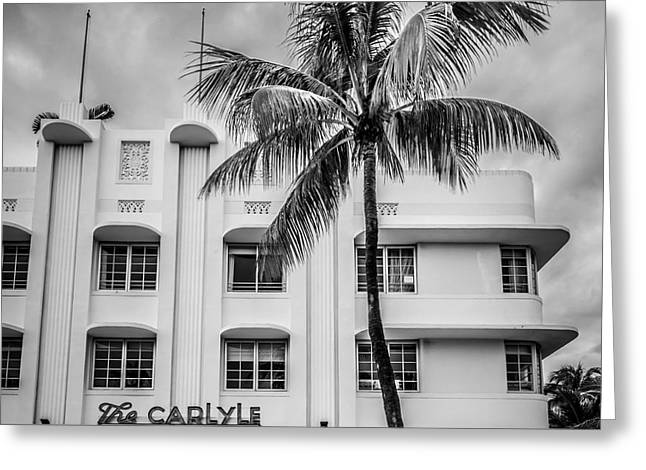 Historic District Greeting Cards - The Carlyle South Beach Miami - Art Deco District - Black and White Greeting Card by Ian Monk