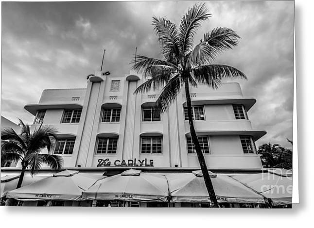 Historic District Greeting Cards - The Carlyle South Beach Miami Panoramic - Art Deco District - Black and White Greeting Card by Ian Monk