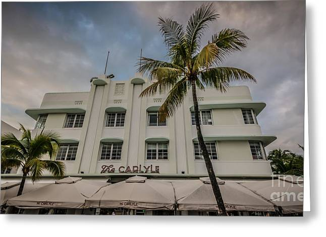 Historic District Greeting Cards - The Carlyle South Beach Miami Panoramic - Art Deco District - HDR Style Greeting Card by Ian Monk