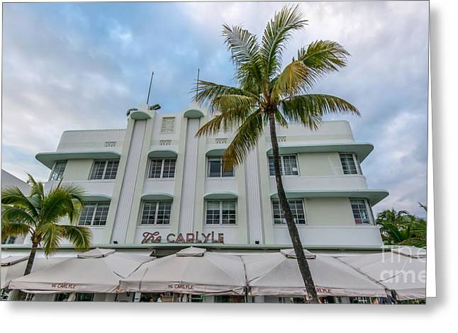 Historic District Greeting Cards - The Carlyle South Beach Miami Panoramic - Art Deco District  Greeting Card by Ian Monk
