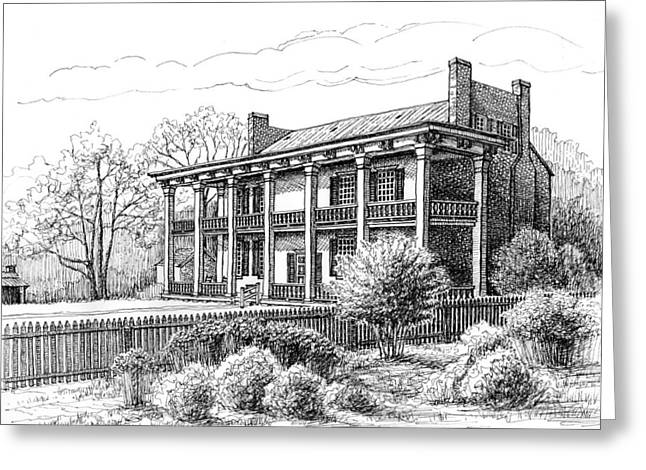 Pen And Ink Drawing Of Franklin Tennessee Greeting Cards - The Carnton Plantation in Franklin Tennessee Greeting Card by Janet King
