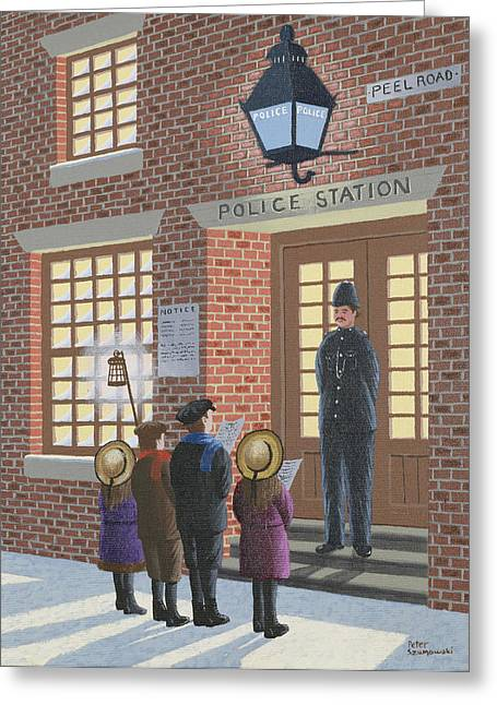 Police Station Greeting Cards - The Carolers Greeting Card by Peter Szumowski