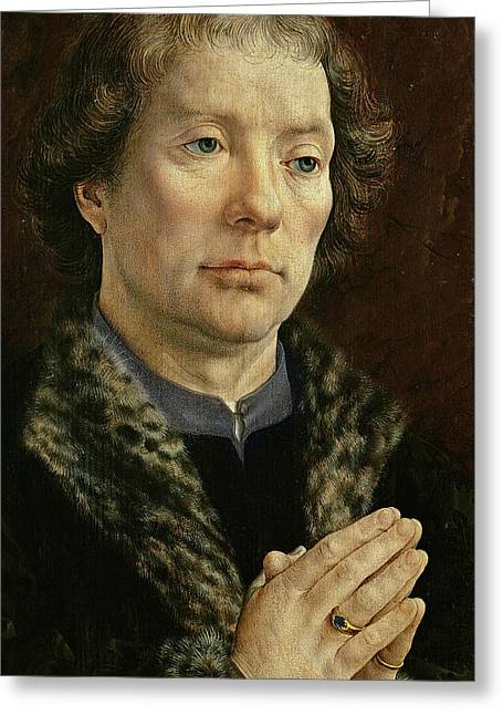 Male Praying Greeting Cards - The Carondelet Diptych Left Hand Panel Depicting Jean Carondelet 1469-1545 Dean Of Besancon Church Greeting Card by Jan Gossaert