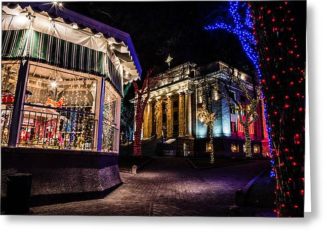 Prescott Greeting Cards - The Carousel and the Courthouse Greeting Card by Alan Marlowe