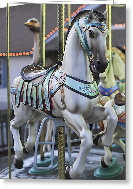 Landscape Iphone Phone Case Greeting Cards - The Carousel Horse Smithville NJ Greeting Card by Terry DeLuco