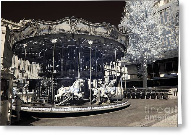 D.w Greeting Cards - The Carousel Greeting Card by John Rizzuto
