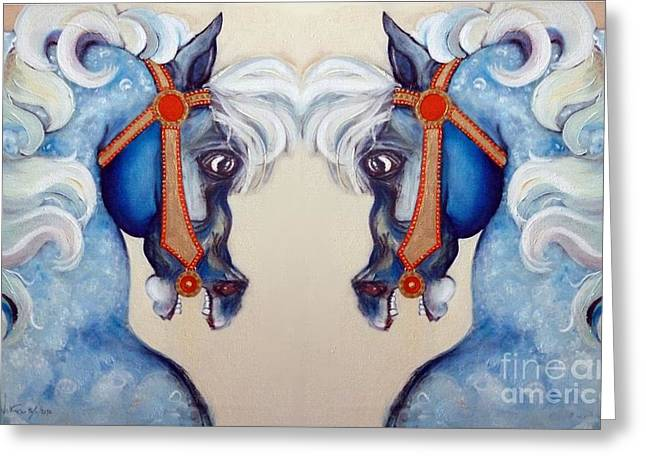 Plunging Greeting Cards - The Carousel Twins Greeting Card by Carolyn Weltman