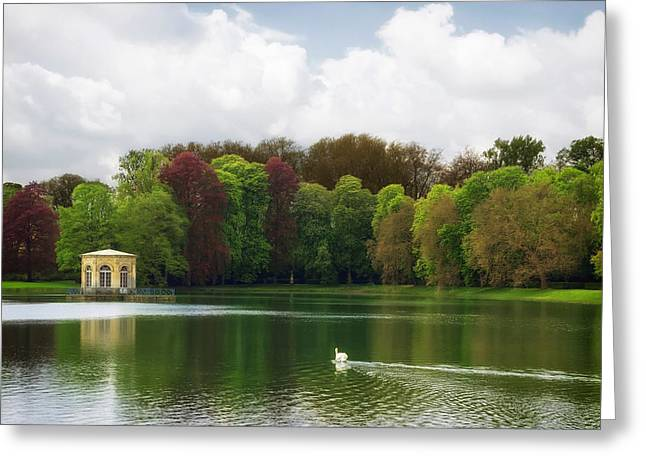Fontainebleau Forest Greeting Cards - the carp pond castle of fontainebleau Seine-et-Marne  Greeting Card by Mountain Dreams