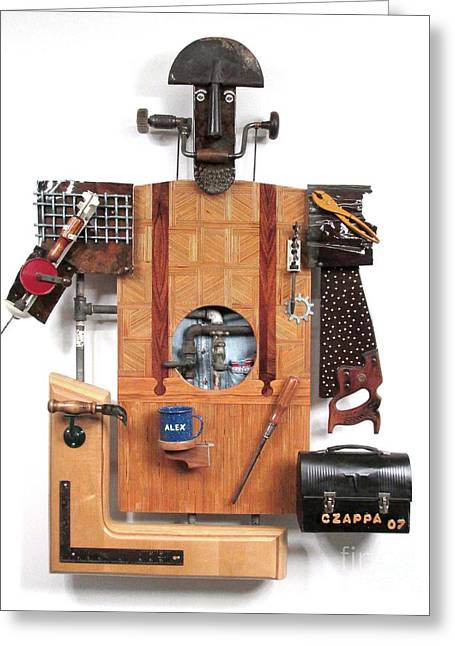 Saw Mixed Media Greeting Cards - The Carpenter Greeting Card by Bill Czappa