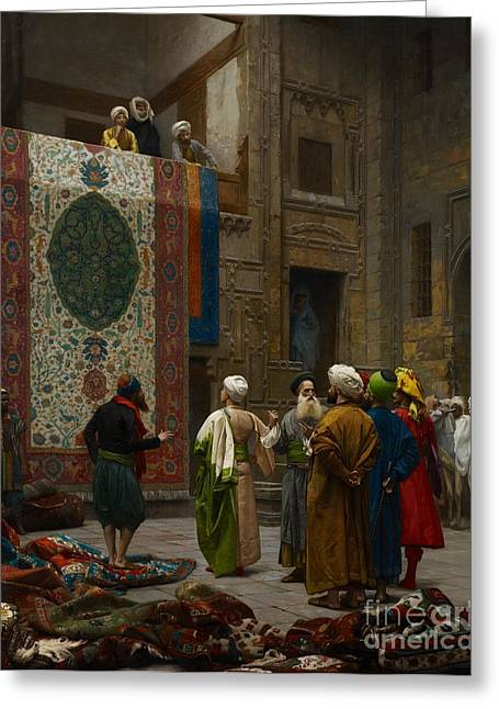 Tapestries Textiles Greeting Cards - The Carpet Merchant Greeting Card by Jean Leon Gerome