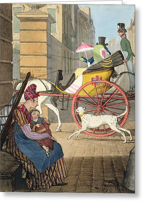 Striped Drawings Greeting Cards - The Carriage Entrance, From Twenty-four Greeting Card by John James Chalon