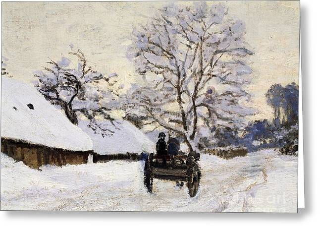 Museums Art Greeting Cards - The Carriage- The Road to Honfleur under Snow Greeting Card by Claude Monet