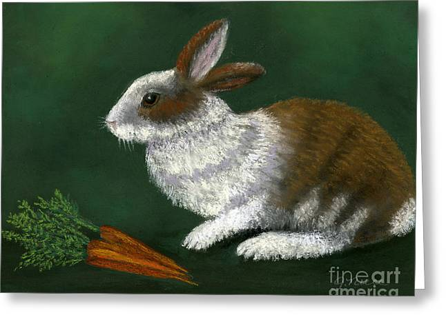 Hare Pastels Greeting Cards - The Carrot Eater Greeting Card by Ginny Neece