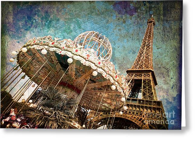 The Carrousel Of The Eiffel Tower Greeting Card by Delphimages Photo Creations