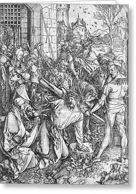 Son Of God Drawings Greeting Cards - The carrying of the cross Greeting Card by Albrecht Durer or Duerer