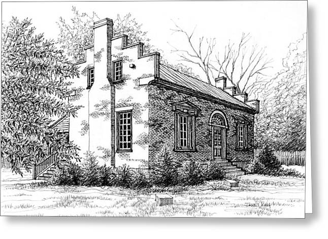 Pen And Ink Drawing Of Franklin Tennessee Greeting Cards - The Carter House in Franklin Tennessee Greeting Card by Janet King