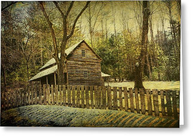 Old Cabins Greeting Cards - The Carter Shields Cabin in Cades Cove in the Smokey Mountains Greeting Card by Randall Nyhof