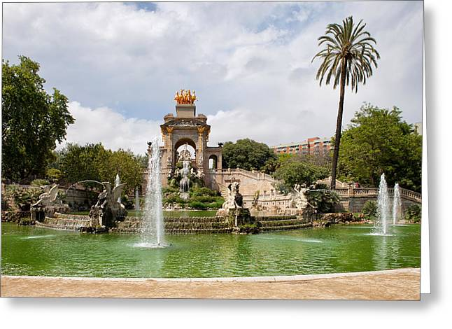 Nature Center Pond Greeting Cards - The Cascada in Ciutadella Park in Barcelona Greeting Card by Artur Bogacki