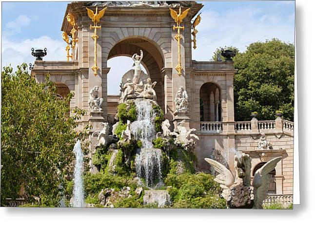 The Cascada in Parc de la Ciutadella in Barcelona Greeting Card by Artur Bogacki