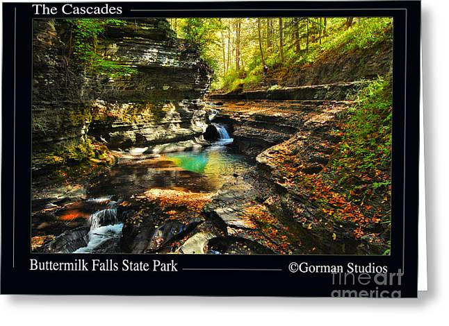 Buttermilk Falls Greeting Cards - The Cascades ButterMilk State Park Greeting Card by Rich Gorman