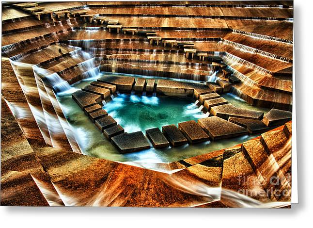 Man Pyrography Greeting Cards - The Cascading Falls - Fort Worth Water Garden  Greeting Card by Brian Orlovich