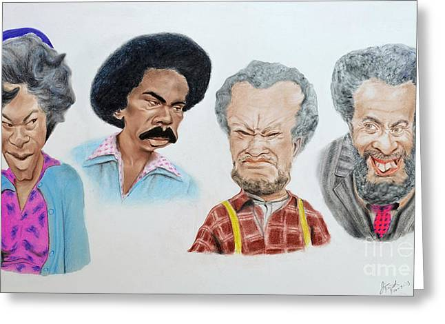 Suspenders Greeting Cards - The Cast of Sanford and Son Altered Version Greeting Card by Jim Fitzpatrick