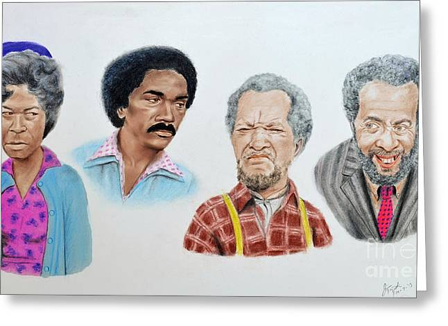Roller Derby Greeting Cards - The Cast of Sanford and Son  Greeting Card by Jim Fitzpatrick
