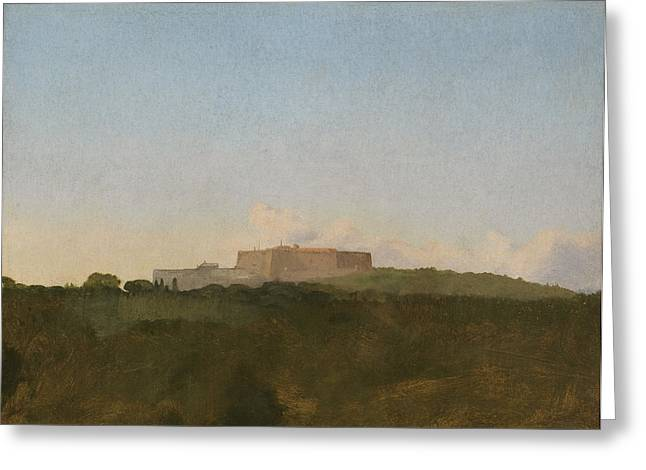 Italian Landscapes Drawings Greeting Cards - The Castel Santelmo, Naples Greeting Card by Edgar Degas