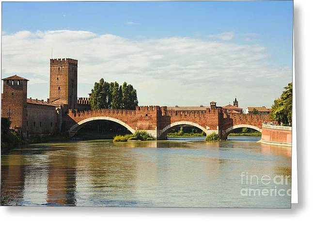 Famous Bridge Greeting Cards - The Castelvecchio Bridge in Verona Greeting Card by Kiril Stanchev