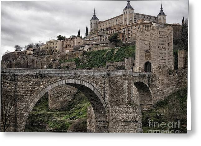 Castilla Greeting Cards - The Castle and the Bridge Greeting Card by Joan Carroll