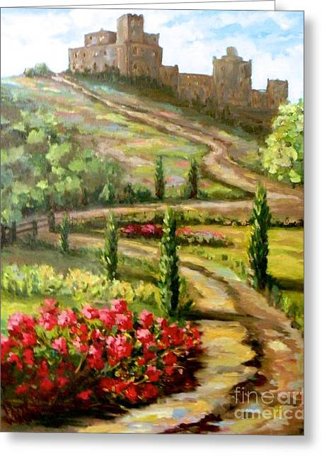 Castle In Valley Greeting Cards - The Castle at Ansouis Greeting Card by Patsy Walton