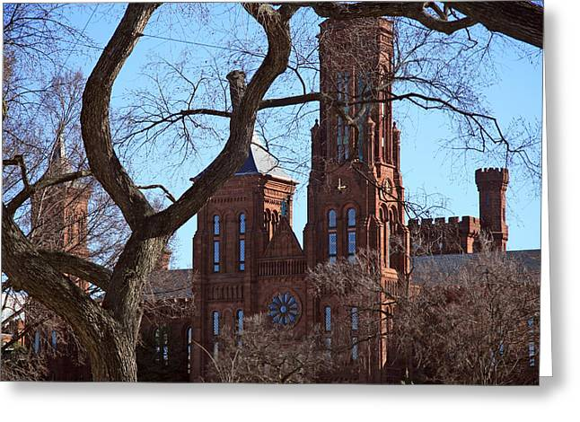 Founders Tree Greeting Cards - Behind Trees -- The Smithsonian Castle Greeting Card by Cora Wandel