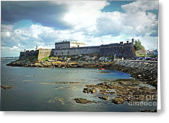 Row Boat Greeting Cards - The Castle Fort on the Harbor Greeting Card by Mary Machare