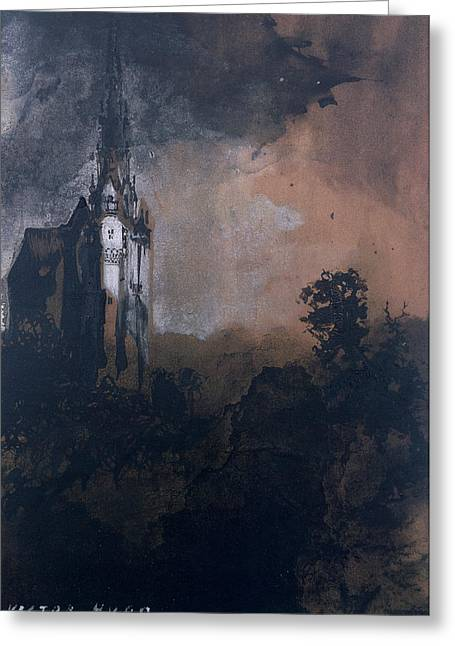 Modern Drawings Greeting Cards - The Castle in the Moonlight  Greeting Card by Victor Hugo