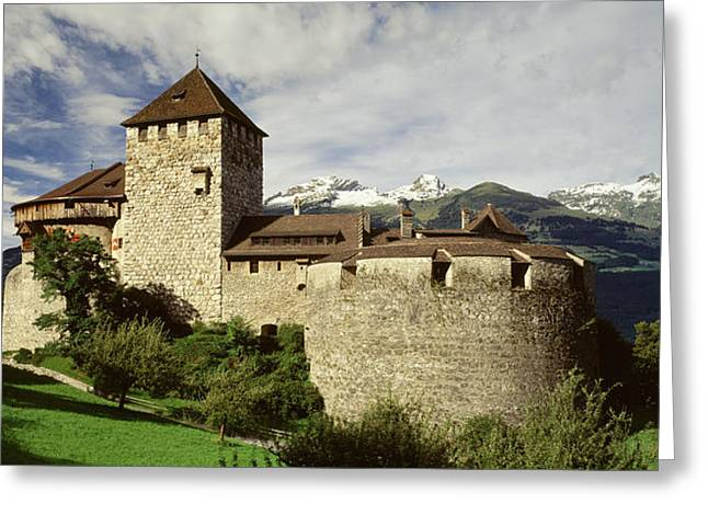 Peeking Greeting Cards - The Castle In Vaduz Lichtenstein Greeting Card by Panoramic Images