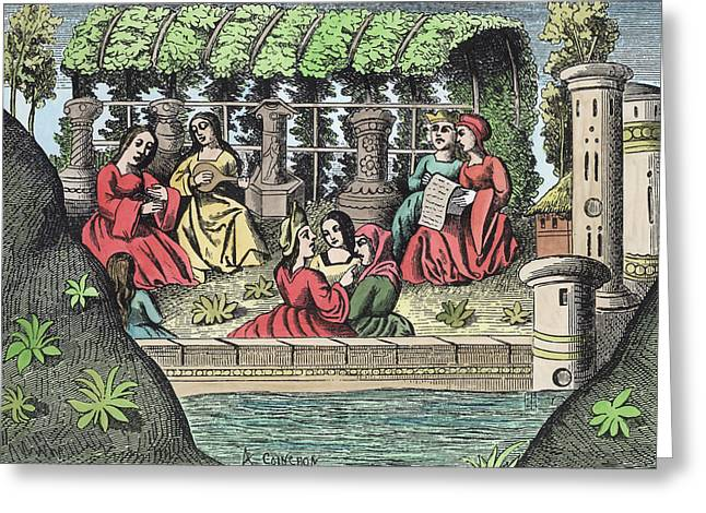 Playing Music Greeting Cards - The Castle of Alamond and its Enchantments Greeting Card by French School