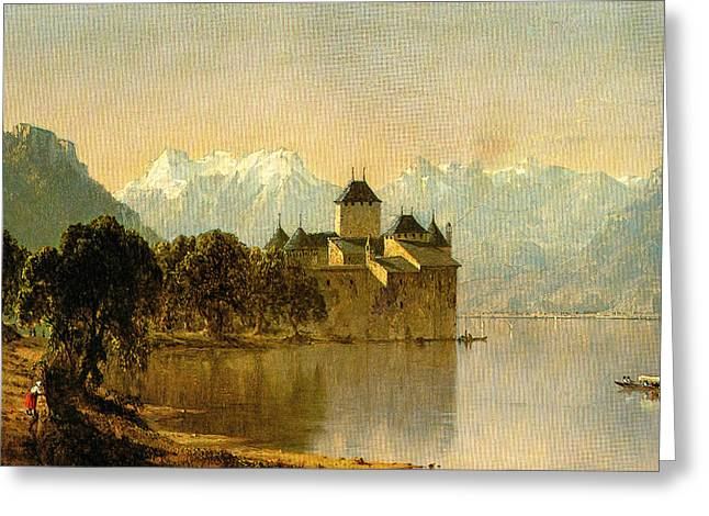 Chillon Greeting Cards - The Castle of Chillon Greeting Card by Unknown