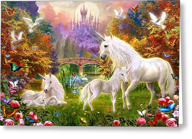 Animals Love Greeting Cards - The Castle Unicorns Greeting Card by Jan Patrik Krasny