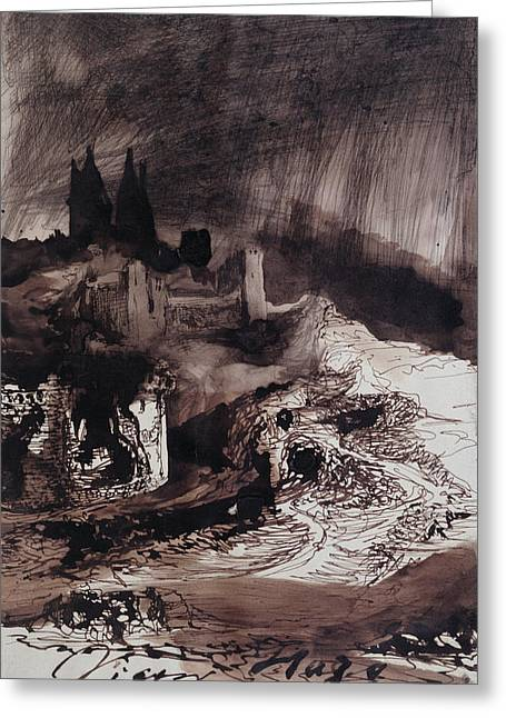 Romanticism Drawings Greeting Cards - The Castle Greeting Card by Victor Hugo
