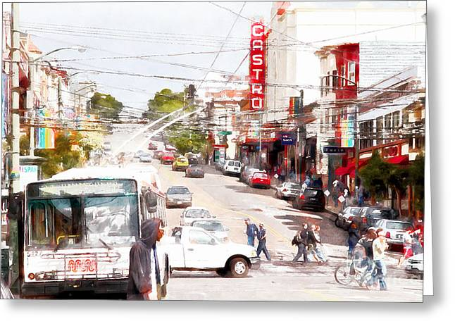 Eureka Valley Greeting Cards - The Castro District in San Francisco 7D7573wcstyle Greeting Card by Wingsdomain Art and Photography