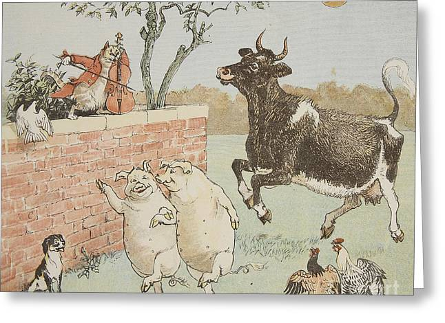 Fiddler Greeting Cards - The Cat and the Fiddle Greeting Card by Randolph Caldecott