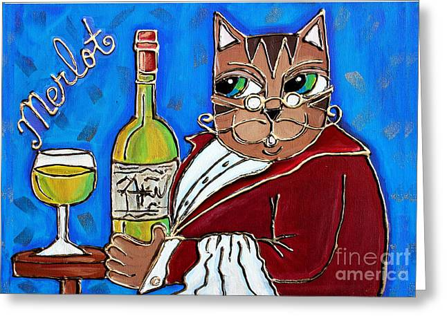 Red Cat Wine Greeting Cards - The Cat Butler Greeting Card by Cynthia Snyder