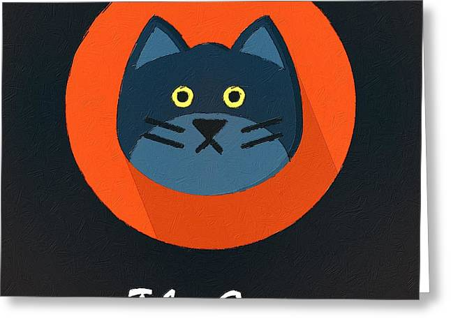 Suburban Posters Greeting Cards - The Cat Cute Portrait Greeting Card by Florian Rodarte